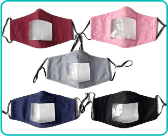 Reusable Face Mask with Clear Window